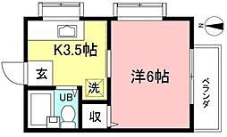 JR武蔵野線 北府中駅 徒歩16分の賃貸アパート 2階1Kの間取り