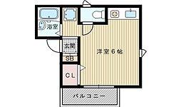 大阪府吹田市寿町1丁目の賃貸アパートの間取り