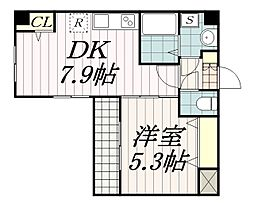 Arcenciel幕張 3階1DKの間取り