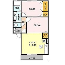 南海高野線 萩原天神駅 徒歩8分の賃貸アパート 1階2DKの間取り