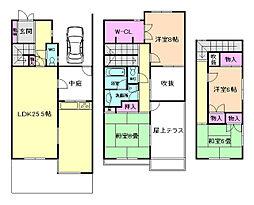 [テラスハウス] 大阪府池田市伏尾台2丁目 の賃貸【/】の間取り