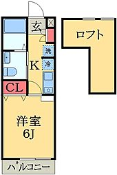 JR総武本線 都賀駅 徒歩10分の賃貸アパート 2階1Kの間取り