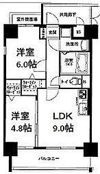 福岡県久留米市松ケ枝町の賃貸マンションの間取り
