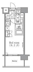 パークハビオ目黒リバーサイド 2階ワンルームの間取り