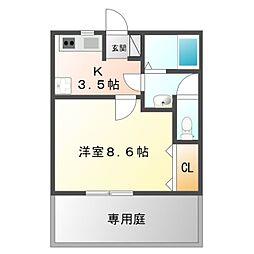 愛知県豊橋市大村町字桜島の賃貸アパートの間取り