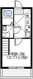 神奈川県横浜市鶴見区平安町1丁目の賃貸アパートの間取り