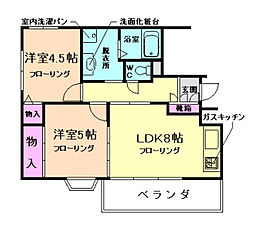 大阪府豊中市北桜塚3丁目の賃貸マンションの間取り
