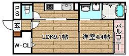 JR東海道・山陽本線 高槻駅 徒歩24分の賃貸マンション 1階1DKの間取り