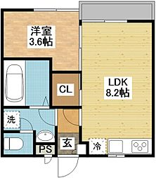 長崎県長崎市小菅町の賃貸アパートの間取り