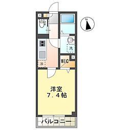 名鉄豊田線 浄水駅 徒歩8分の賃貸アパート 2階1Kの間取り