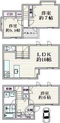 渋谷区本町1丁目戸建 3LDKの間取り