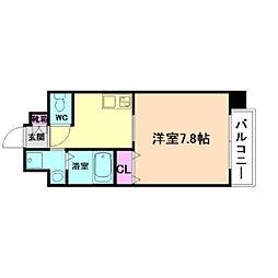 アール大阪リュクス 5階1Kの間取り