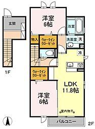 東京都東大和市芋窪6丁目の賃貸アパートの間取り