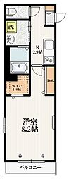 JR埼京線 赤羽駅 徒歩15分の賃貸マンション 2階1Kの間取り