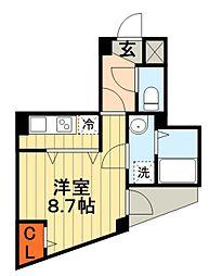 JR総武本線 東千葉駅 徒歩5分の賃貸マンション 8階1Kの間取り