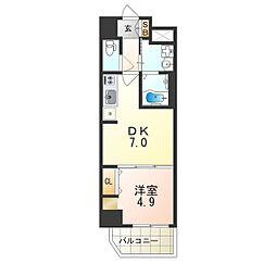 ベラジオ阿倍野 7階1DKの間取り