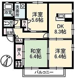 ペルレ D[2階]の間取り