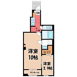 東武宇都宮線 おもちゃのまち駅 徒歩5分の賃貸アパート 1階1SKの間取り