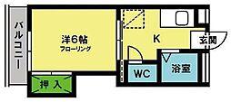 キングハイツ八尋[407号室]の間取り