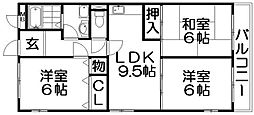 ラクシュリアント[4階]の間取り