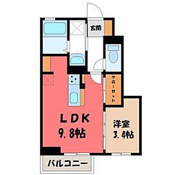 JR東北新幹線 宇都宮駅 バス56分 野高谷下車 徒歩7分の賃貸アパート 1階1LDKの間取り
