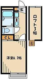 西武新宿線 小平駅 徒歩19分の賃貸アパート 1階1Kの間取り