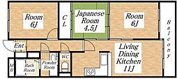ハイツ中村パートIII[3階]の間取り