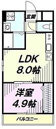 西武拝島線 玉川上水駅 徒歩2分の賃貸マンション 2階1LDKの間取り