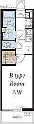つくばエクスプレス 南流山駅 徒歩13分の賃貸アパート 2階1Kの間取り
