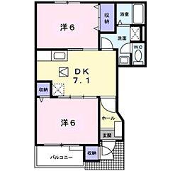 愛知県岡崎市洞町字本郷の賃貸アパートの間取り