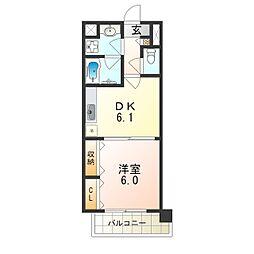 阪急千里線 北千里駅 徒歩19分の賃貸マンション 5階1DKの間取り