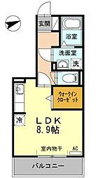 愛知県豊田市浄水町南平の賃貸アパートの間取り