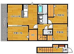 小郡新築アパート B棟[201号室]の間取り