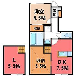 JR東北本線 宇都宮駅 バス27分 上石川十文字下車 徒歩6分の賃貸アパート 1階1SLDKの間取り