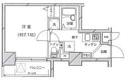 ライジングプレイス練馬関町ステーションスクエア 7階1Kの間取り
