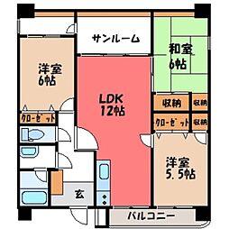 栃木県栃木市旭町の賃貸マンションの間取り