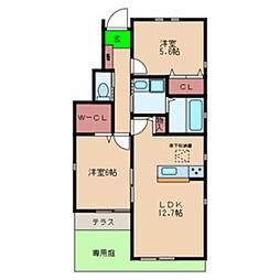 南海高野線 北野田駅 徒歩10分の賃貸アパート 1階2LDKの間取り