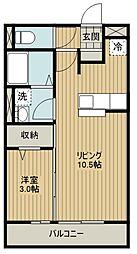 西武新宿線 東村山駅 徒歩10分の賃貸アパート 1階1LDKの間取り