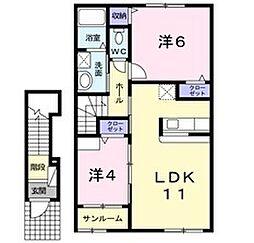 新潟県新発田市山崎の賃貸アパートの間取り