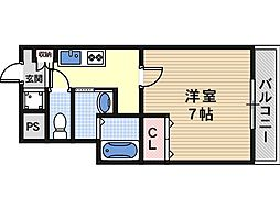 Osaka Metro谷町線 駒川中野駅 徒歩7分の賃貸マンション 4階1Kの間取り