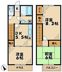 [テラスハウス] 東京都八王子市下柚木2丁目 の賃貸【東京都 / 八王子市】の間取り