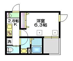 東武東上線 下板橋駅 徒歩9分の賃貸マンション 3階1Kの間取り