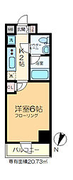 GENOVIA綾瀬skygarden 12階1Kの間取り