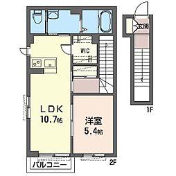泉区新橋町シャーメゾン (仮) 2階1LDKの間取り