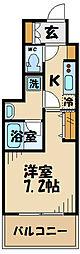 京王線 府中駅 徒歩1分の賃貸マンション 5階1Kの間取り