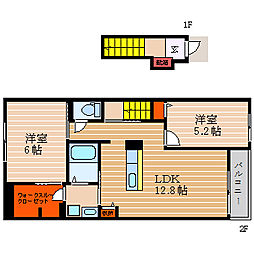 滋賀県彦根市中藪町の賃貸アパートの間取り