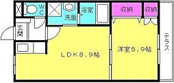 兵庫県加古川市別府町新野辺北町1丁目の賃貸マンションの間取り