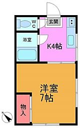 東京都江戸川区西小岩3丁目の賃貸アパートの間取り