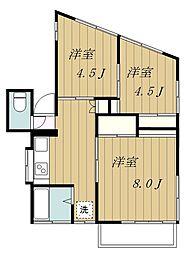 神奈川県大和市中央林間西1丁目の賃貸アパートの間取り