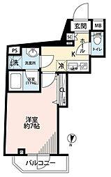 京王井の頭線 池ノ上駅 徒歩11分の賃貸マンション 2階1Kの間取り